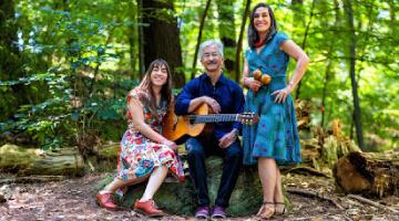 Family Trio on Log